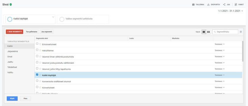 Segmenttiluettelon yläreunasta pääset luomaan uusia segmenttejä, joita voi hyödyntää segmentoinnissa Google Analyticsissä.